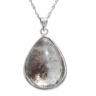 De Buman Sterling Silver Natural Phantom Crystal Pendant Necklace (18-inch Chain)