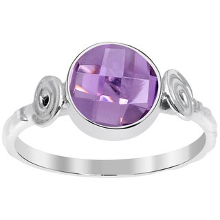 Orchid Jewelry 1.90 CTW genuine Amethyst sterling silver ring