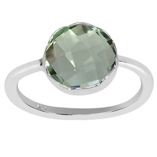 Orchid Jewelry 2.00 CTW genuine Green Amethyst sterling silver ring
