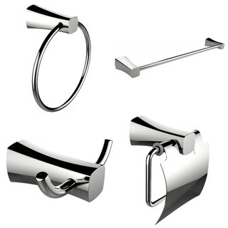 Single Rod Towel Rack, Robe Hook, Towel Ring And Toilet Paper Holder Accessory Set