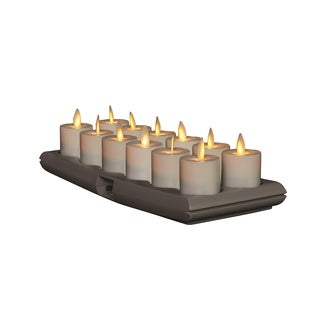 Torchier Off-white Plastic 1.6-inch Rechargeable Votives with Base (Pack of 12)