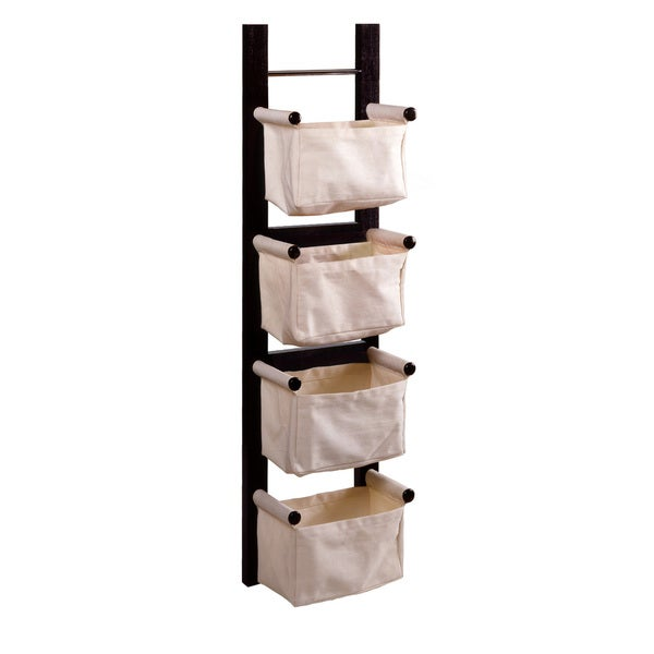 Brown Wood Storage/Magazine Rack With 4 Canvas Baskets