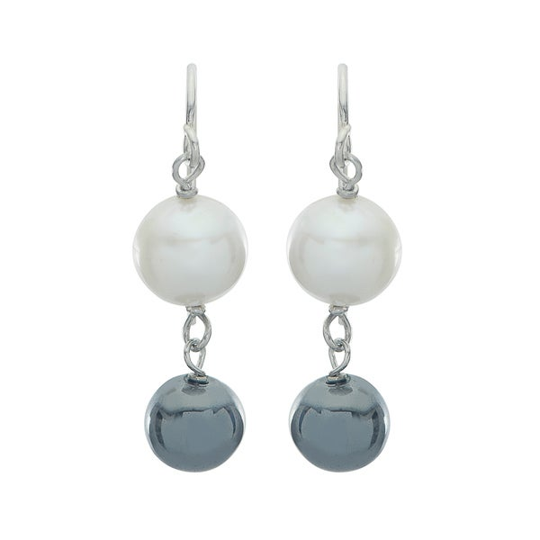 Pearls For You Sterling Silver White FWP and Hematite Bead Drop Earrings