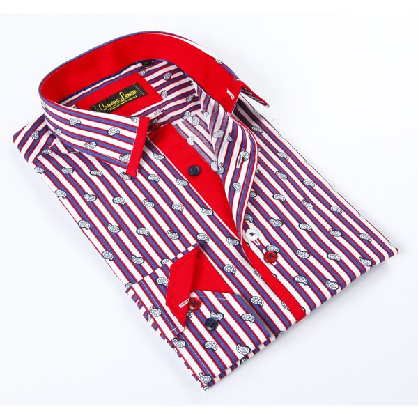 Banana Lemon Classic Blue/ White/ Red Stripe Dress Shirt