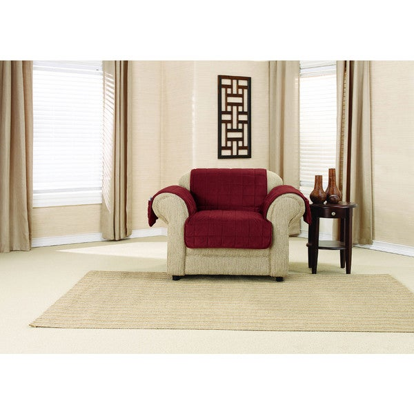 Sure Fit Deep Pile Velvet Chair Protector with Paw Print Reverse