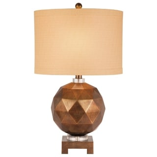 Catalina 19337-001 3-way 28-inch Burnished Gold Faceted Round Table Lamp with Linen Drum Shade, Bulb Included