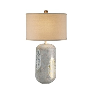 Catalina 19343-001 Ceramic Gold and Silver Leaf 29-inch 3-way Table Lamp with Linen Shade (Bulb Included)