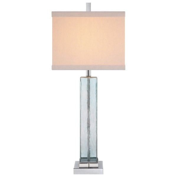 Catalina 19103-001 Polished Nickel Finish Blue Water Glass 34-inch Square 3-way Table Lamp with Square Linen Hardback Shade