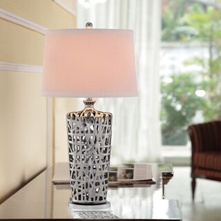 Catalina 19099-002 3-Way 34-Inch Lattice Body Ceramic Table Lamp with Chrome Finish and White Textured Linen Modified Drum Shade