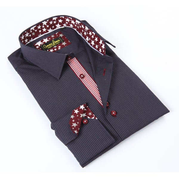 Banana Lemon Classic Navy/ Red Button-up Dress Shirt