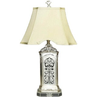 Batik Mirrored Lamp With Crystal Base