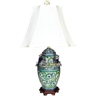 Garland Scrolls Hexagon Cover Jar Porcelain Lamp