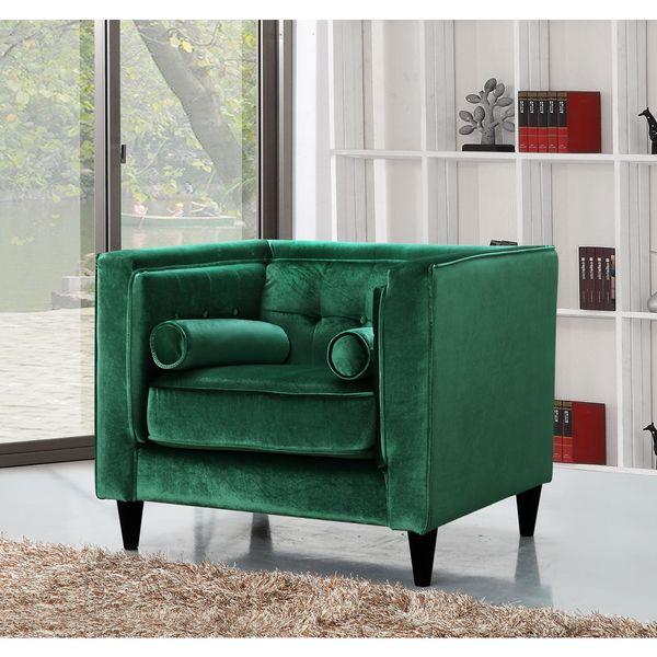 Meridian Taylor Green Velvet Chair 18920084 Overstock