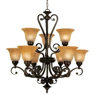 Y-Decor Lucerne Black, Brown Steel, Glass Nine-light Chandelier