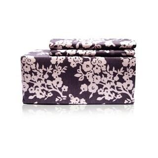 Grey Floral Flannel Sheet Set