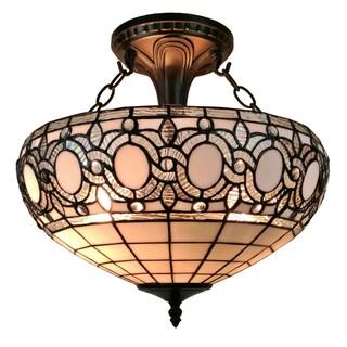Amora Lighting AM230HL16 Tiffany-style Semi-flush Mount Ceiling Fixture
