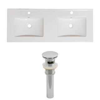 60-in. W x 18.5-in. D Ceramic Top Set In White Color And Drain