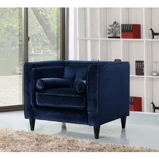 Barrister blue velvet button tufted accent chair for Bellagio button tufted leather brown chaise