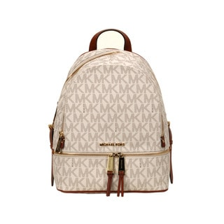 Michael Kors Vanilla Signature Rhea Zip Small Fashion Backpack