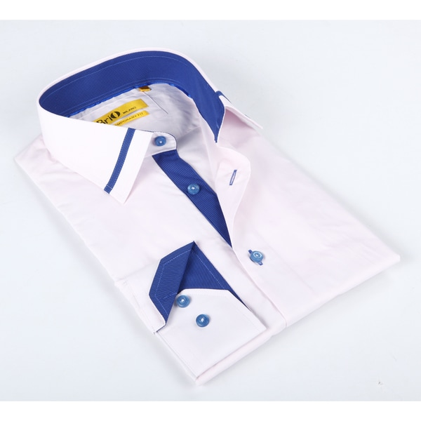 Brio Mens Solid Pink/ Navy Dress Shirt