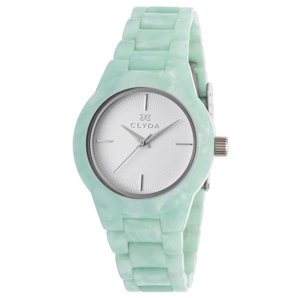 Clyda White and Green Mineral and Stainless Steel Watch