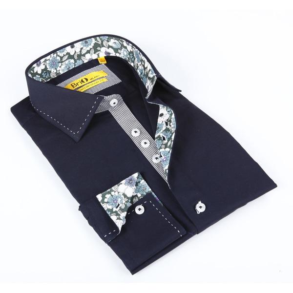Brio Mens Navy Solid Dress Shirt