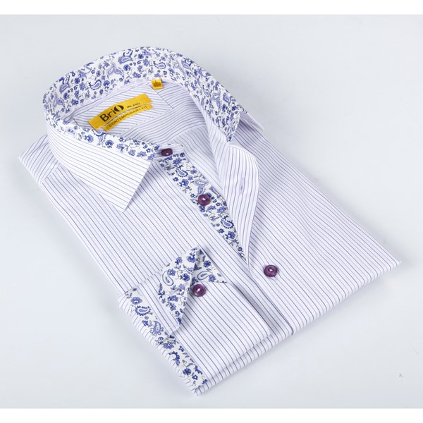 Brio Mens White/ Lavender Dress Shirt