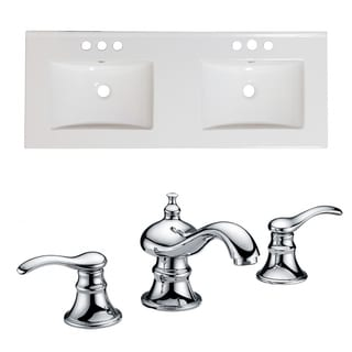 48-in. W x 18-in. D Ceramic Top Set In White Color With 8-in. o.c. CUPC Faucet