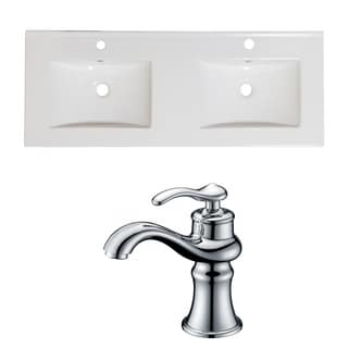 60-in. W x 18.5-in. D Ceramic Top Set In White Color With Single Hole CUPC Faucet