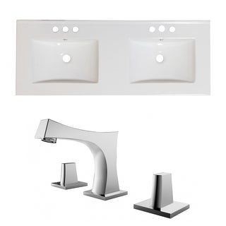 60-in. W x 18.5-in. D Ceramic Top Set In White Color With 8-in. o.c. CUPC Faucet