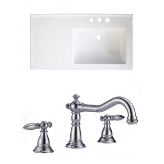 34-in. W x 18-in. D Ceramic Top Set In White Color With 8-in. o.c. CUPC Faucet