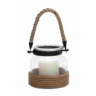 Multi-color Glass, Iron Lantern with Rope Handle
