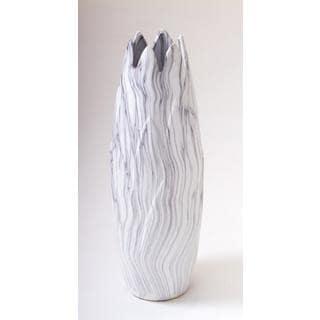 White Marble Ceramic 7-inch x 21-inch Vase