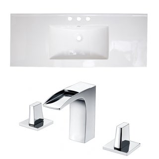 40-in. W x 18-in. D Ceramic Top Set In White Color With 8-in. o.c. CUPC Faucet