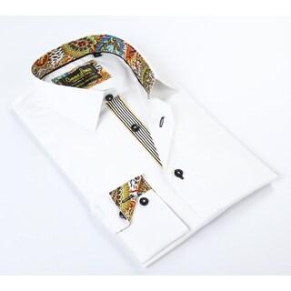 Banana Lemon Classic Button-down White/ Paisley Dress Shirt