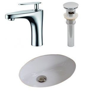19.5-in. W x 16.25-in. D CUPC Oval Undermount Sink Set In White With Single Hole CUPC Faucet And Drain