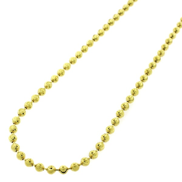 10k Gold Moon-cut Bead Pendant Chain Necklace