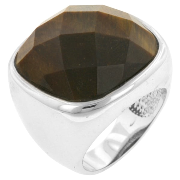 Kate Bissett White Brass Tiger Eye Cocktail Ring