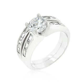 Kate Bissett Silver Brass Cubic Zirconia Stackable Ring Set