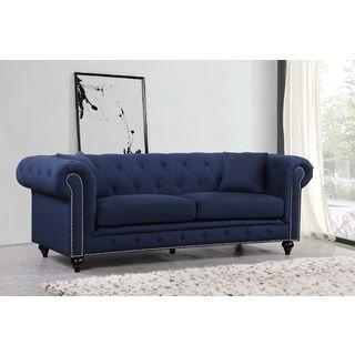 Meridian Chesterfield Navy Linen Sofa