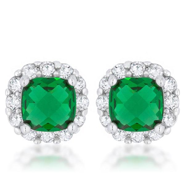 Kate Bissett Liz Rhodium Brass 2 ct Emerald Cubic Zirconia Classic Cushion Stud Earrings
