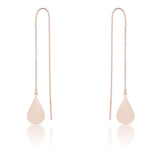 Kate Bissett Chloe Rose Gold Stainless Steel Teardrop Threaded Drop Earrings