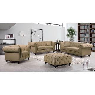 Meridian Chesterfield Sand Linen 4-piece Furniture Set