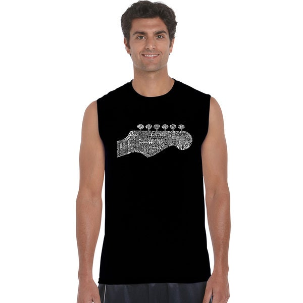 Los Angeles Pop Art Men's Guitar Head Blue/Black/Grey Cotton Sleeveless T-shirt