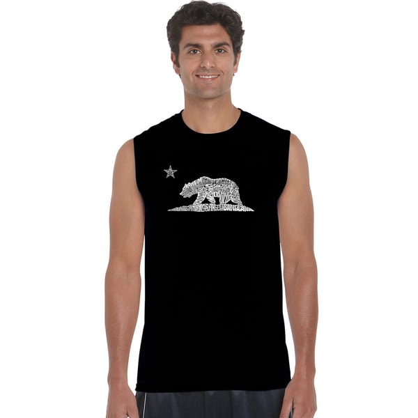 Men's California Bear Black Cotton Sleeveless T-shirt