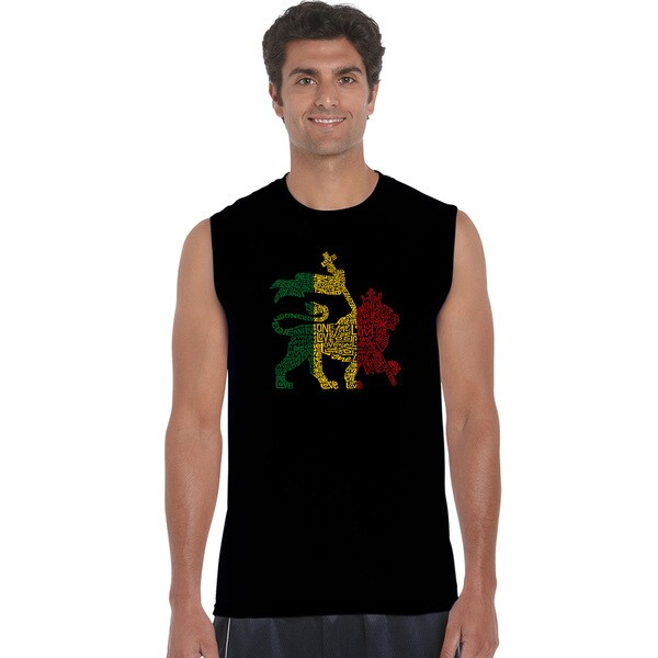 Men's Black, Blue, Grey Cotton Sleeveless Graphic T-shirt
