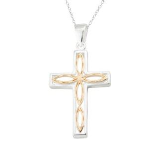 Haven Park Two-Tone Cross Pendant Necklace