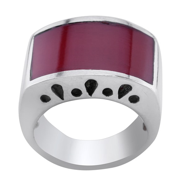 Haven Park Red Coral Inlay Dome Ring