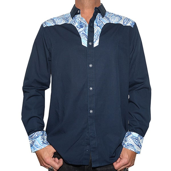 Rock Roll N Soul Men's 'Blue Sky Western' Cotton Long-sleeved Woven Shirt