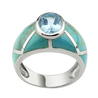 Haven Park Turquoise and Blue Topaz Ring
